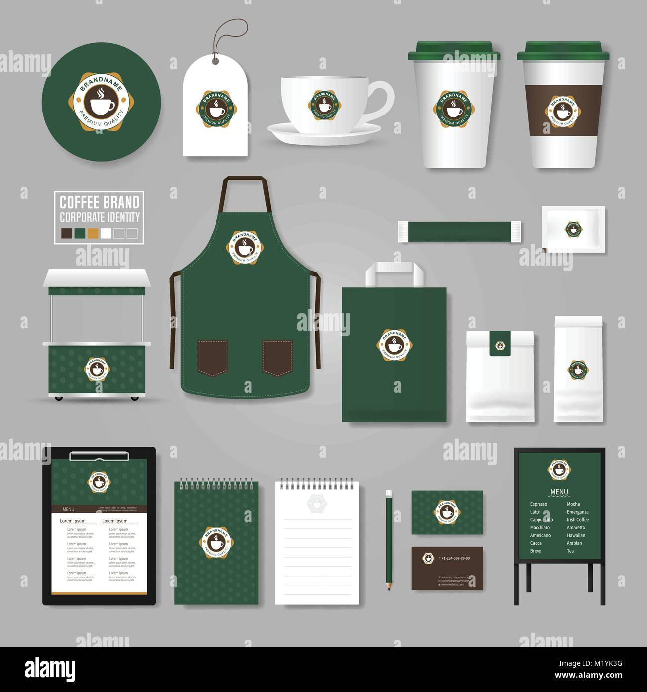 Corporate identity Vorlage. Logo Konzept für Coffee Shop, Café ...