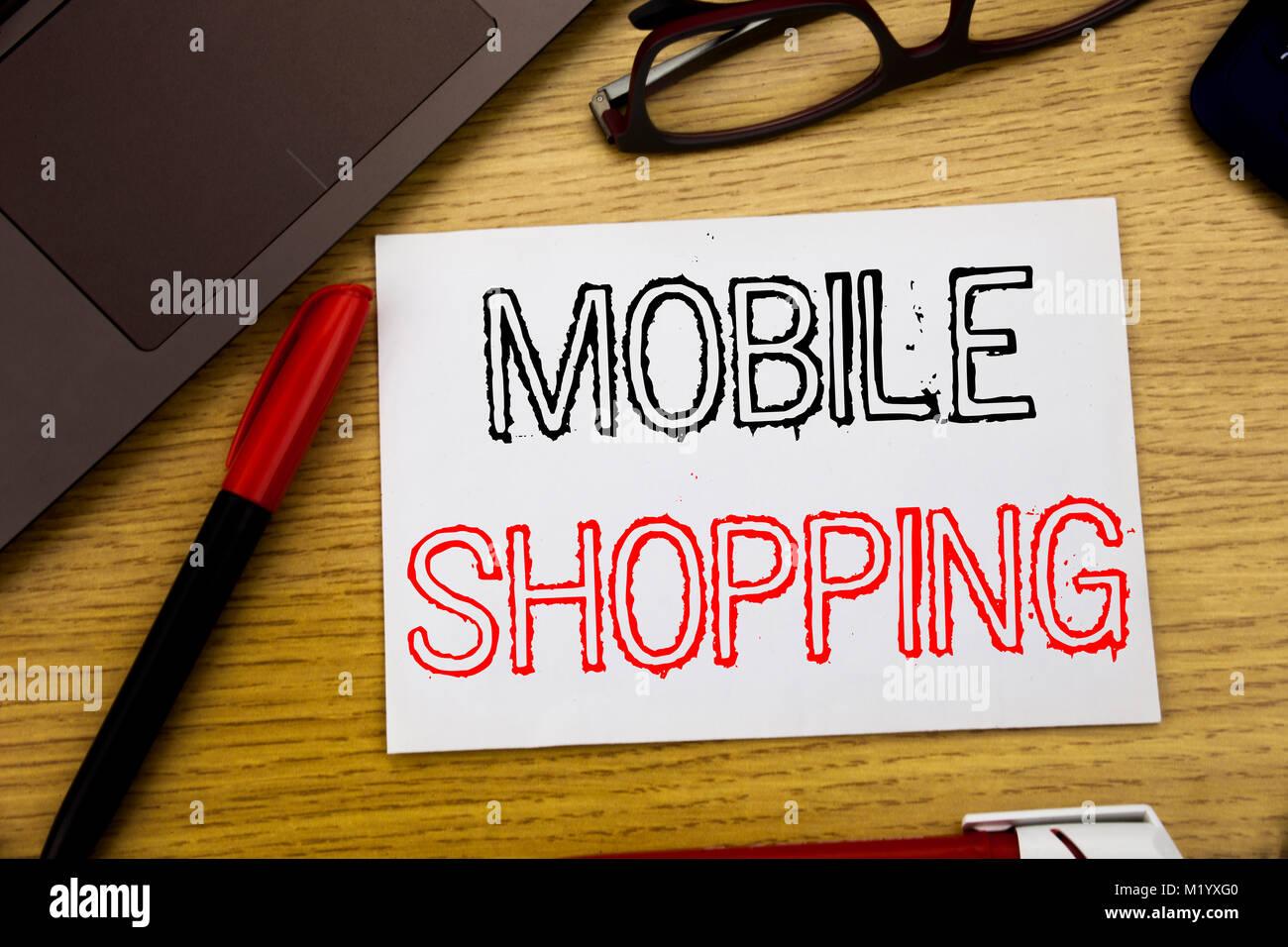 Handschrift Ansagetext Angezeigt Das Mobile Einkaufen Business