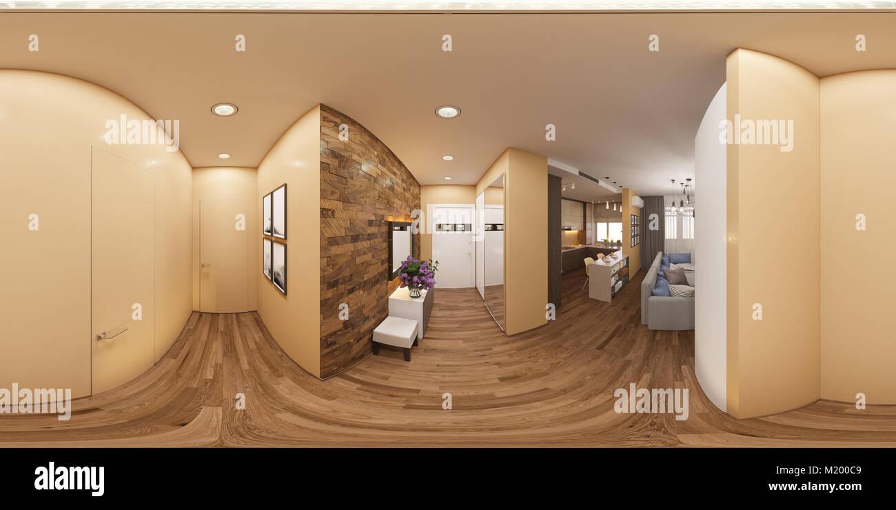 3D-Darstellung eines nahtlosen 360 Grad Panorama der Innenraum der ...