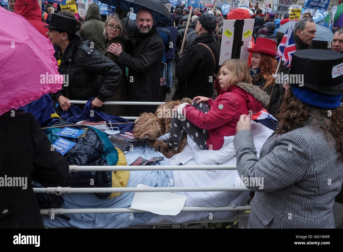 London, Großbritannien. Vom 3. Februar 2018. Tausende von National Health Service Arbeiter, Gewerkschafter, Stockbild