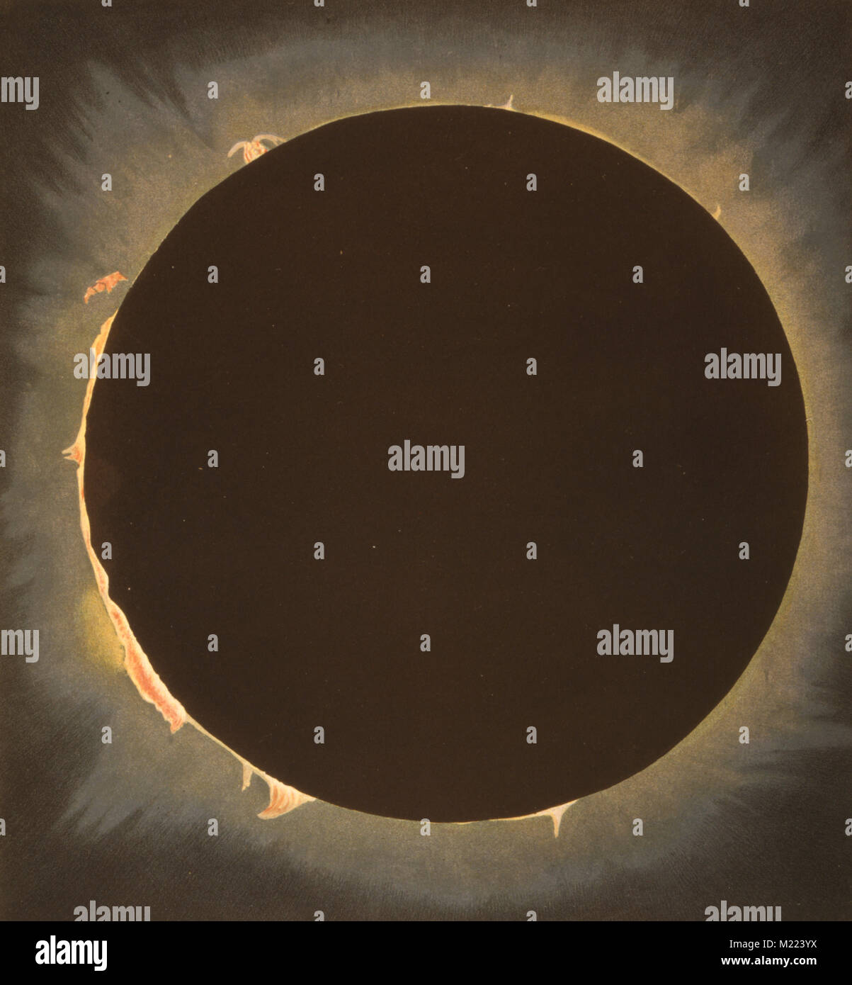 Sonnenfinsternis 1862. Die Sonne und der Mond am Anfang und am Ende der Totalität einer Sonnenfinsternis. Stockbild