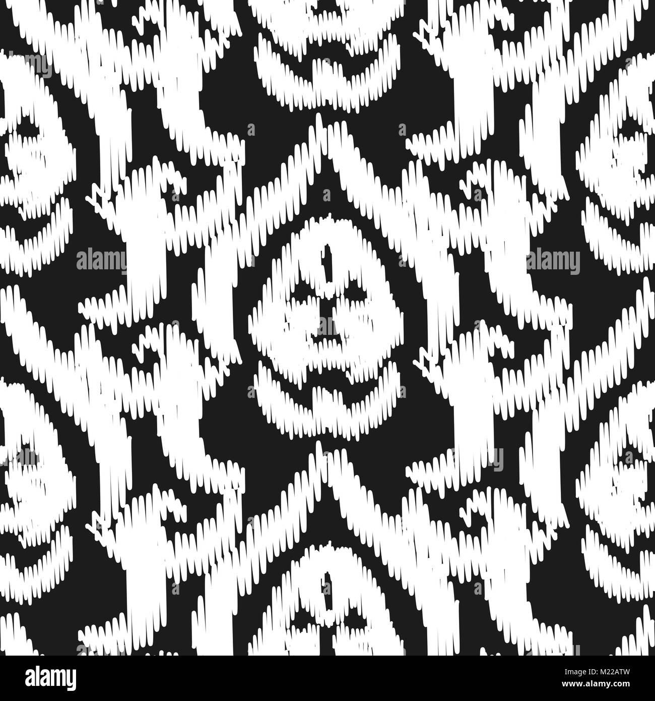 damast ikat nahtlose vektor tapete muster classic luxury style schwarz wei design - Tapete Schwarz Wei Muster