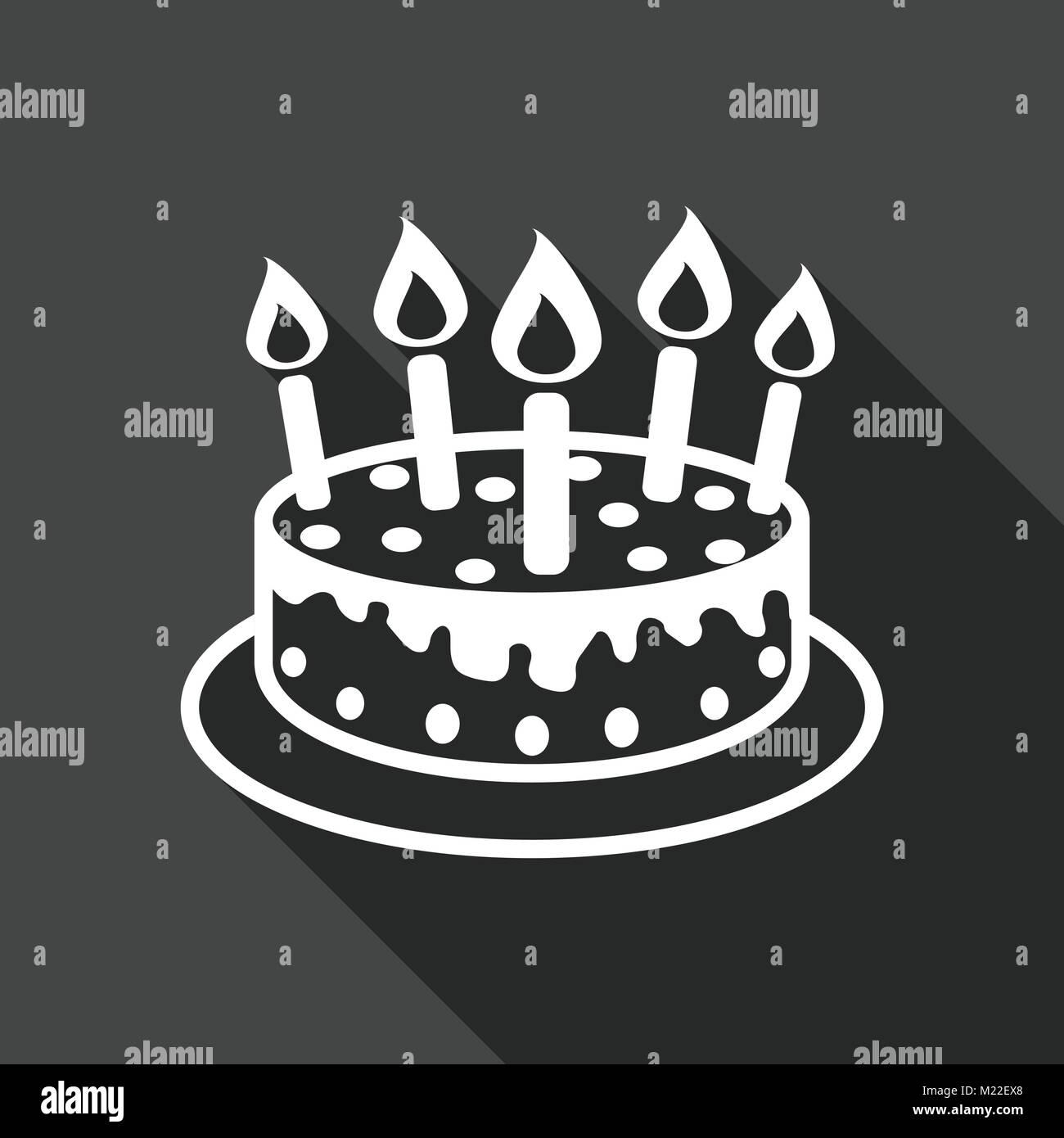 Geburtstag Kuchen Mit Brennenden Kerzen Piktogramm Icon Einfache