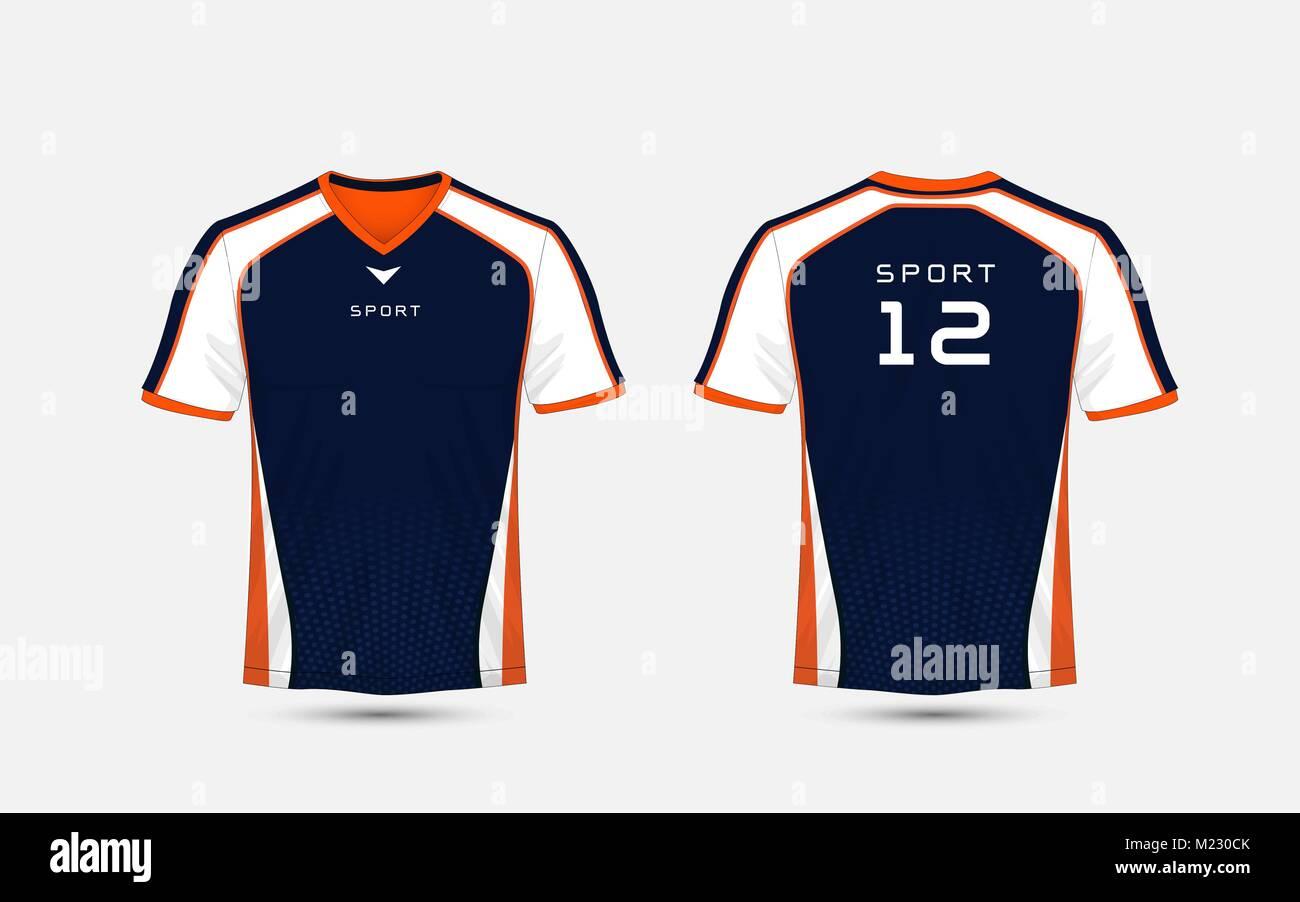 T Shirt Design Template | Blau Weiss Und Orange Muster Sport Fussball Kits Jersey T Shirt