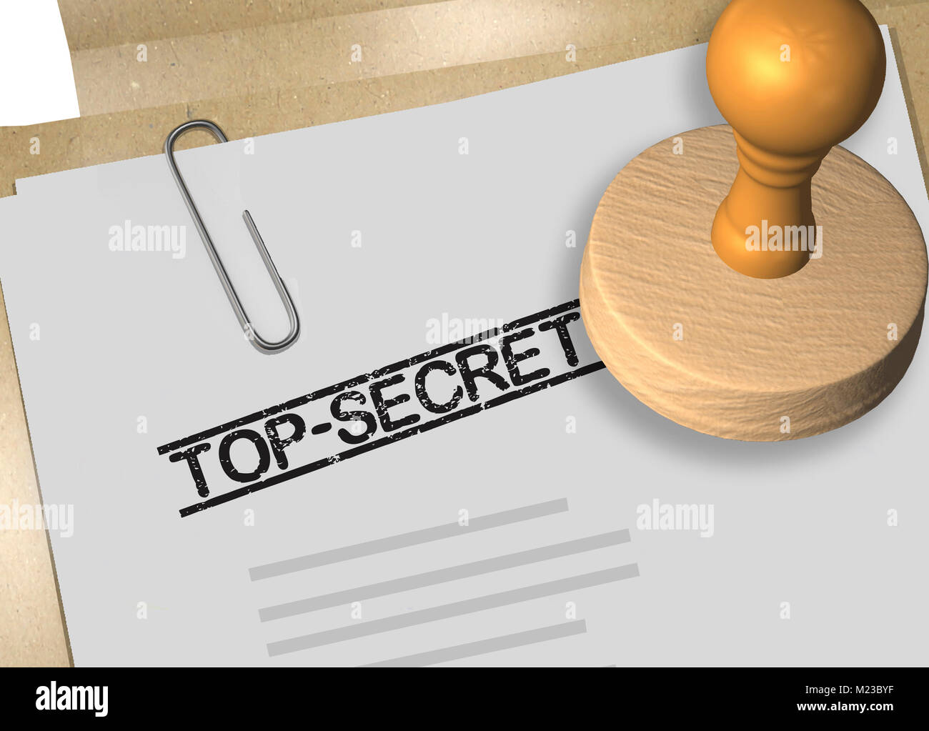 3D-Abbildung: TOP SECRET Stempel Titel auf Business Dokument oder ...
