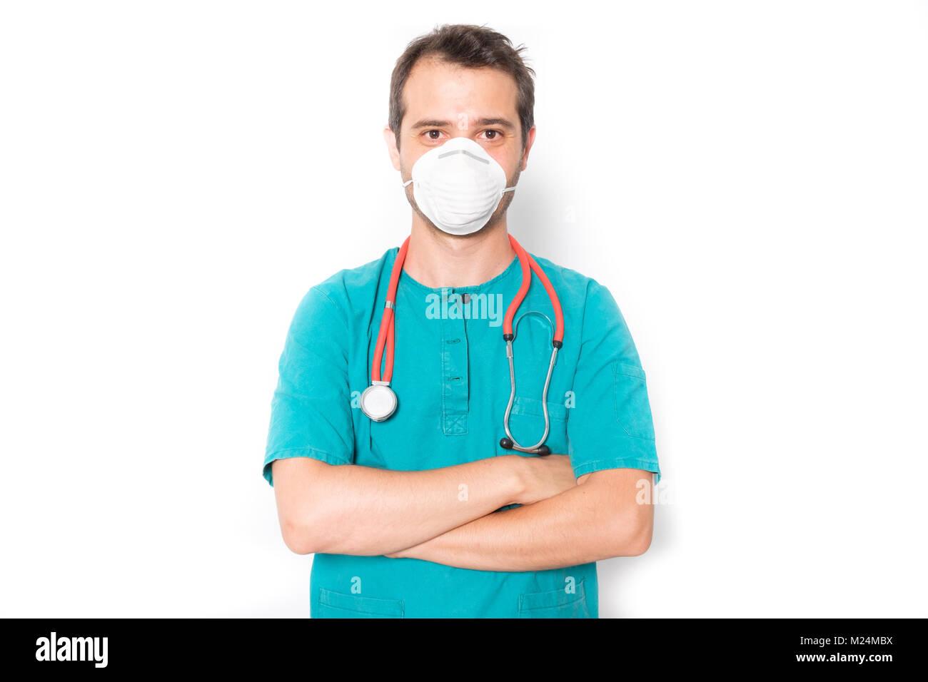 Chirurg Arzt mit einer Maske, um eine Infektion zu verhindern Stockbild