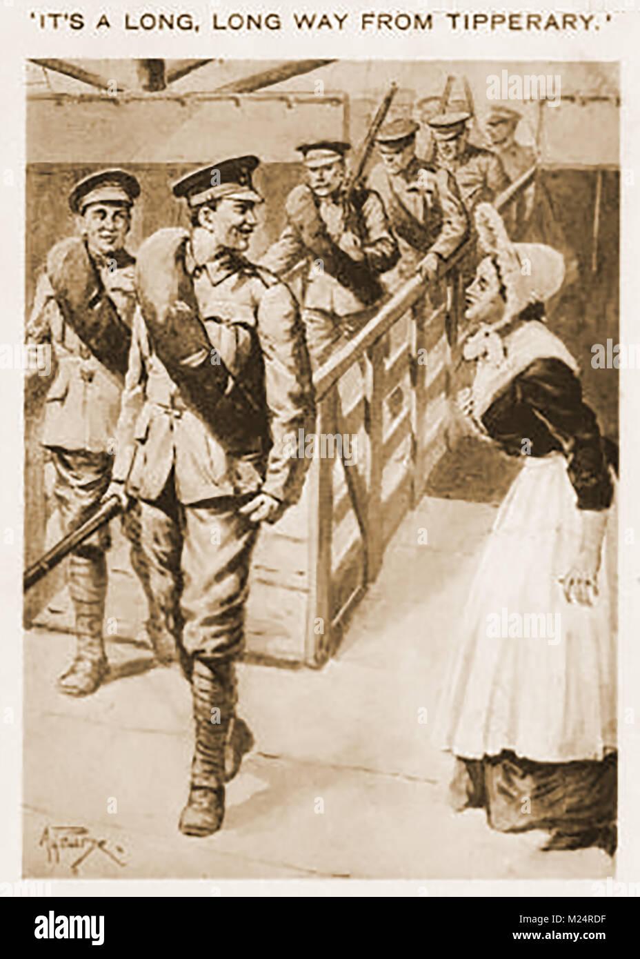 Erster Weltkrieg (1914-1918) aka Der Große Krieg oder Weltkrieg - Grabenkämpfe - Irische Soldaten Landung in Calais Stockfoto