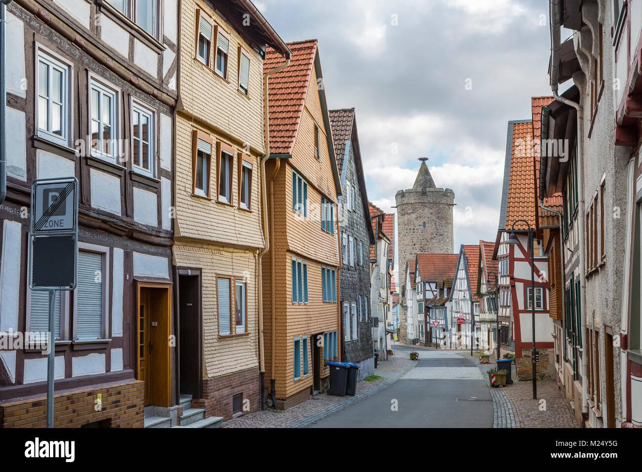 Alsfeld Deutschland Fachwerkhäusern Und Leonhards Turm In Der