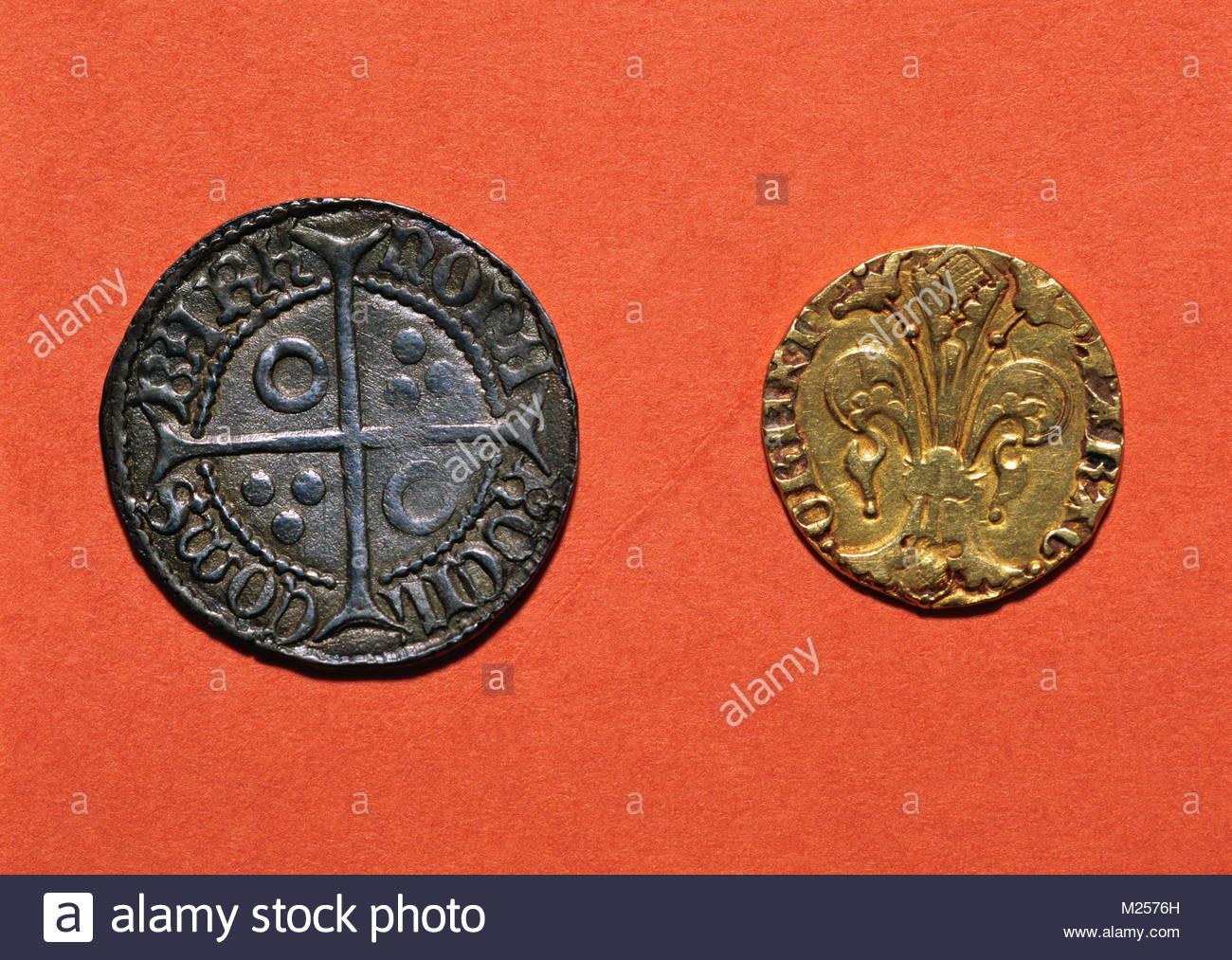 Mittelalterliche Münzen Links Kroate In Barcelona Geprägt
