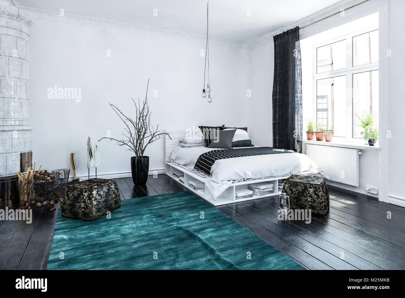 Modernes, Stilvolles High Key Luftige Schlafzimmer Interieur In Schwarz Und  Weiß Gehalten Und Ein Designer Bett Und Blauen Teppich In Der Ecke Neben  Einem ...