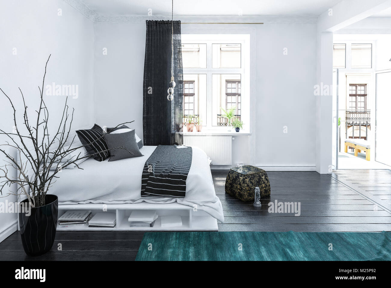 Große geräumige Grau und Weiß Schlafzimmer Interieur in einem ...