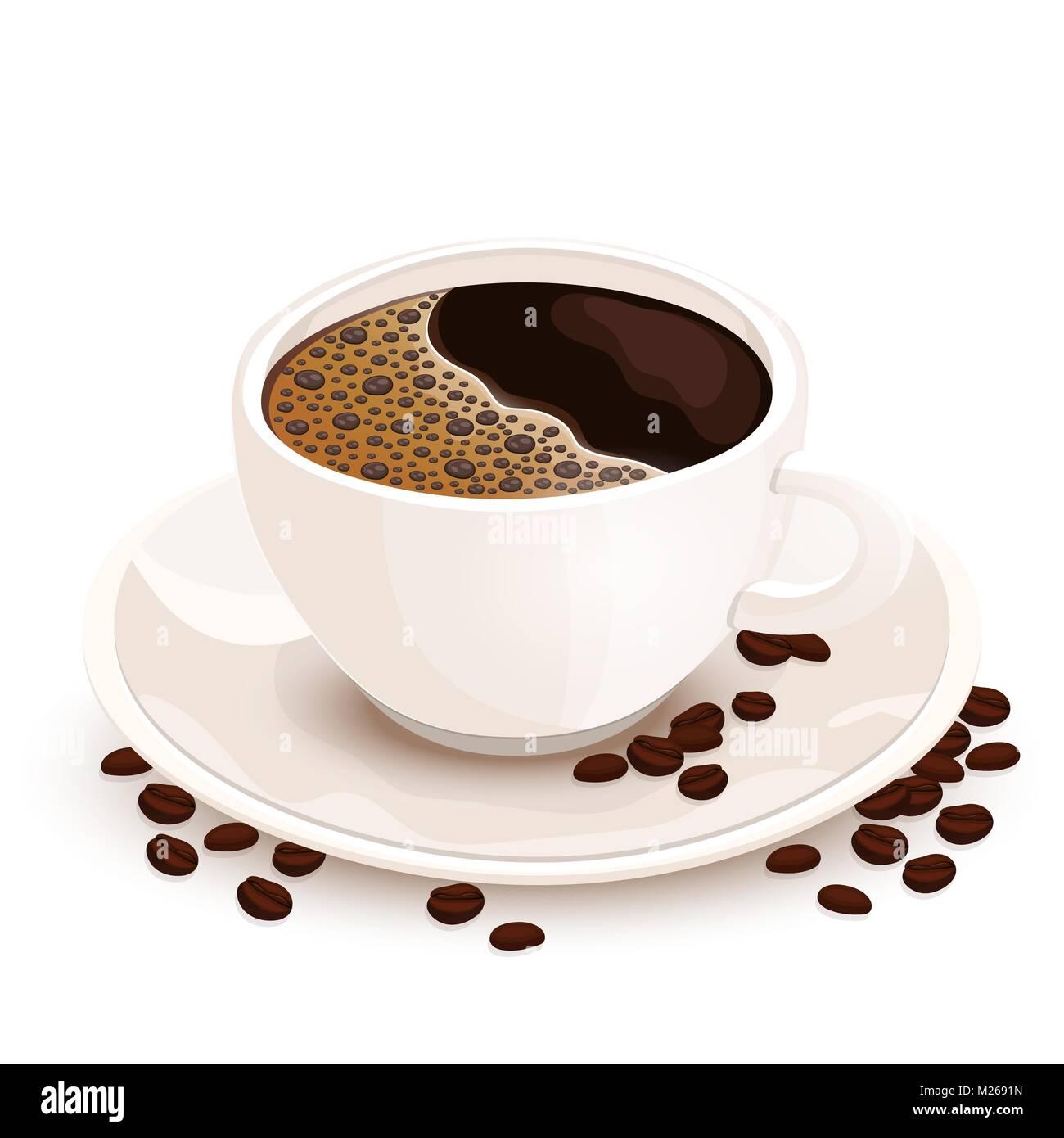 Tasse Kaffee Vektor realistische Abbildung. Weiße Tasse mit ...