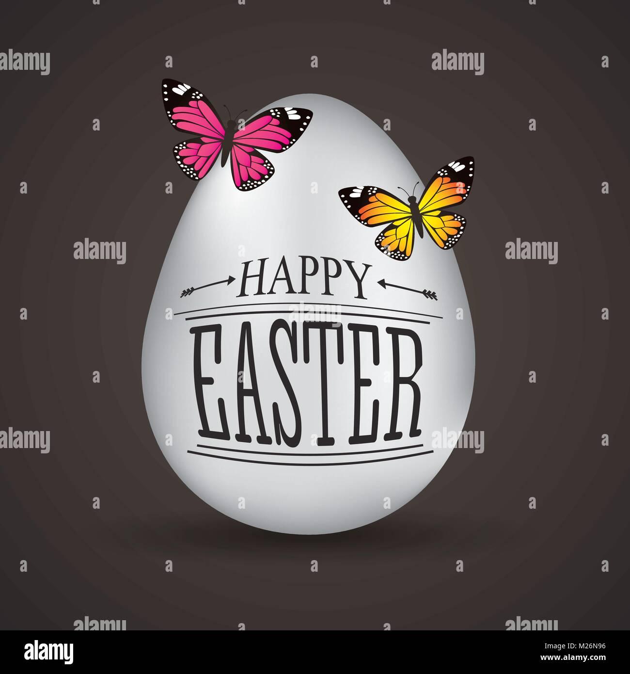 Frohe Ostern Karte.Frohe Ostern Karte Grosse Weisse Eier Schmetterlinge Auf