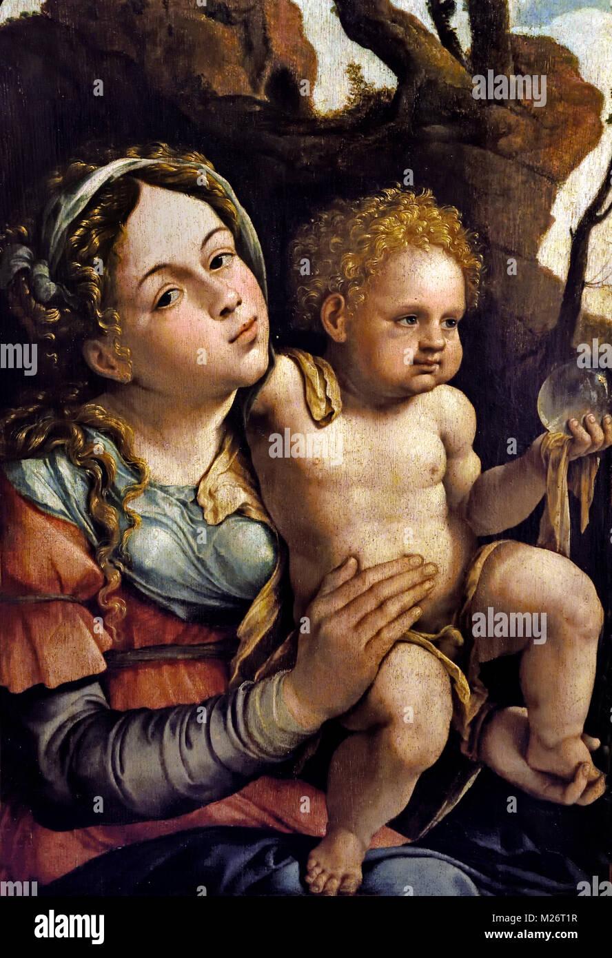 Jungfrau und Kind 1525 Jan Van Scorel (1495 - 1562) war ein niederländischer Maler, Die Niederlande Stockbild