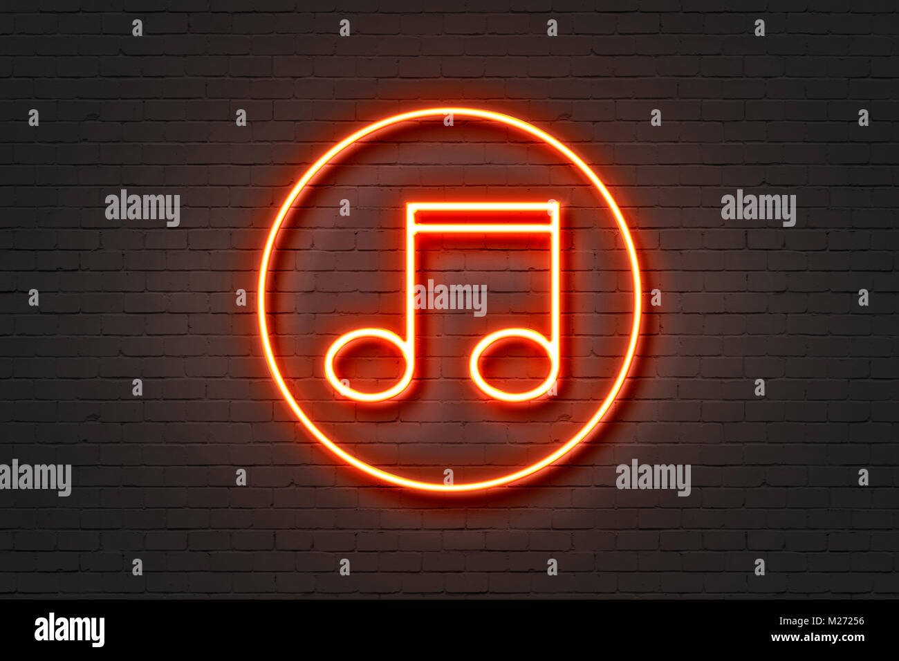 Neonlicht Symbol Musik Stockfoto