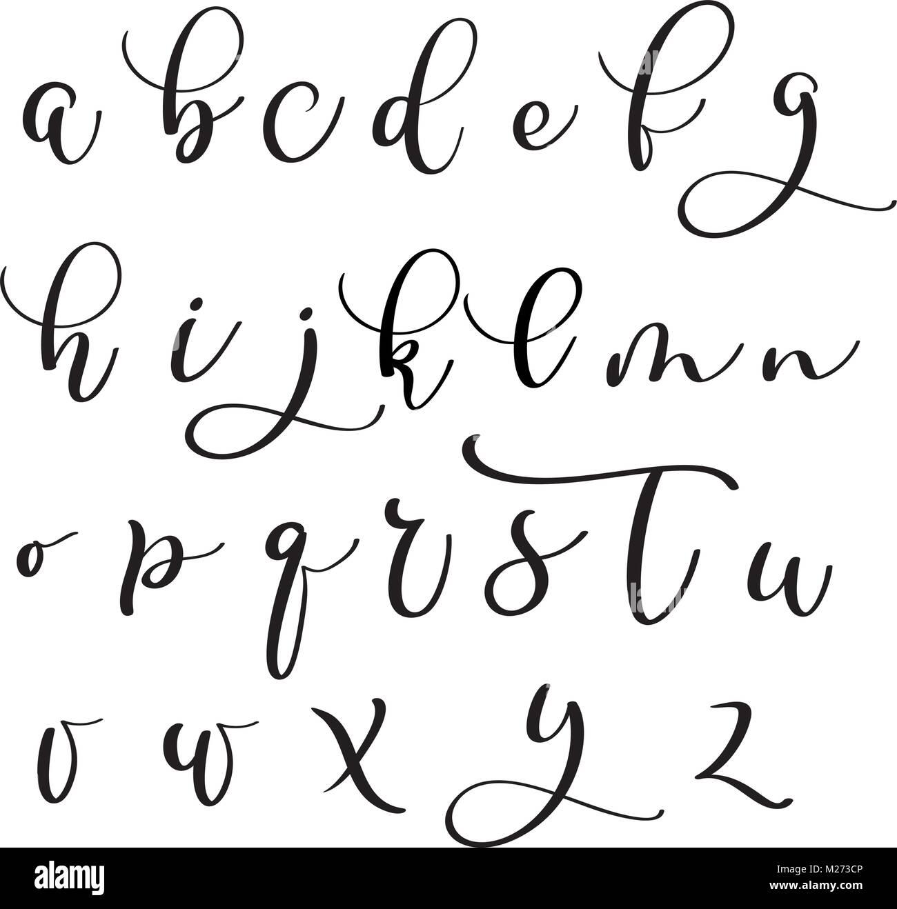 Brushpen Alphabet Moderne Kalligraphie Handschriftliche Briefe