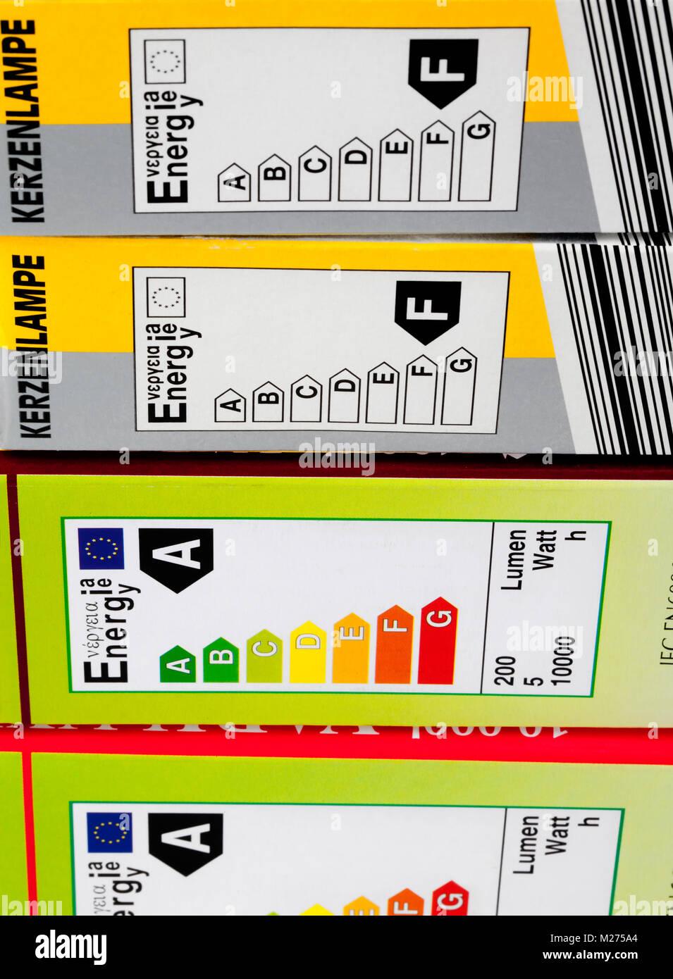 Energieeffiziente Produkte Etiketten Stockbild