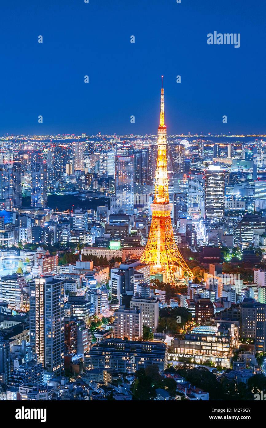 Tokyo Tower Tokyo Skyline City Lights Stockbild