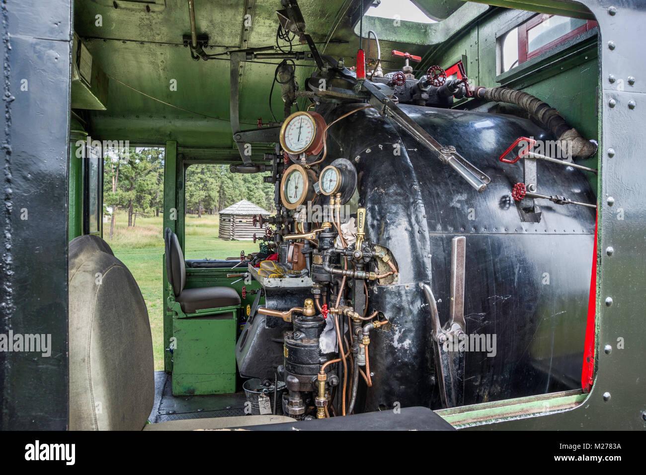 Cab der Dampflok Nr. 1077, 1923 erbaut, am Fort Steele Erbe der Stadt, East Kootenay Region, British Columbia, Kanada Stockbild