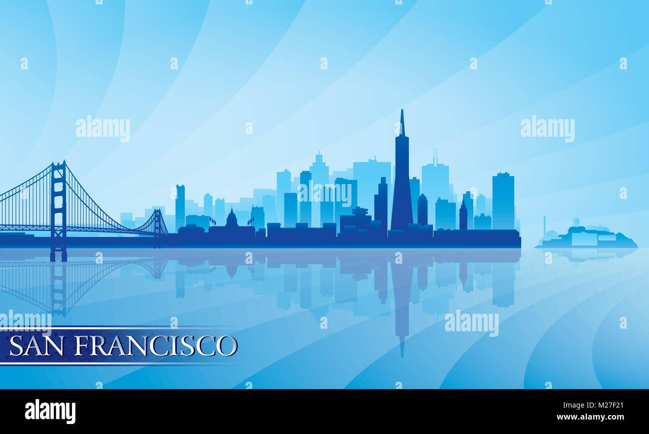 San Francisco Stadt Skyline Silhouette Hintergrund. Vektor-illustration Stockbild