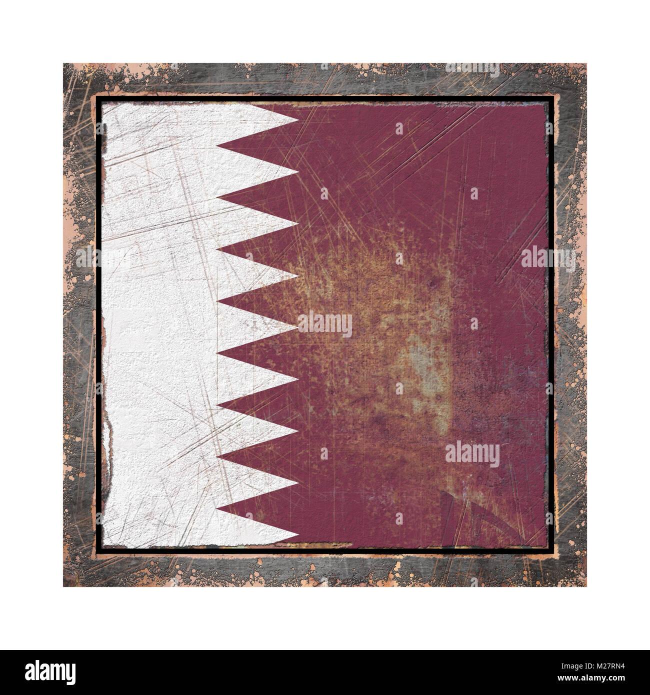 3D-Rendering einer Katar Flagge über eine rostige Metallplatte Witz ...