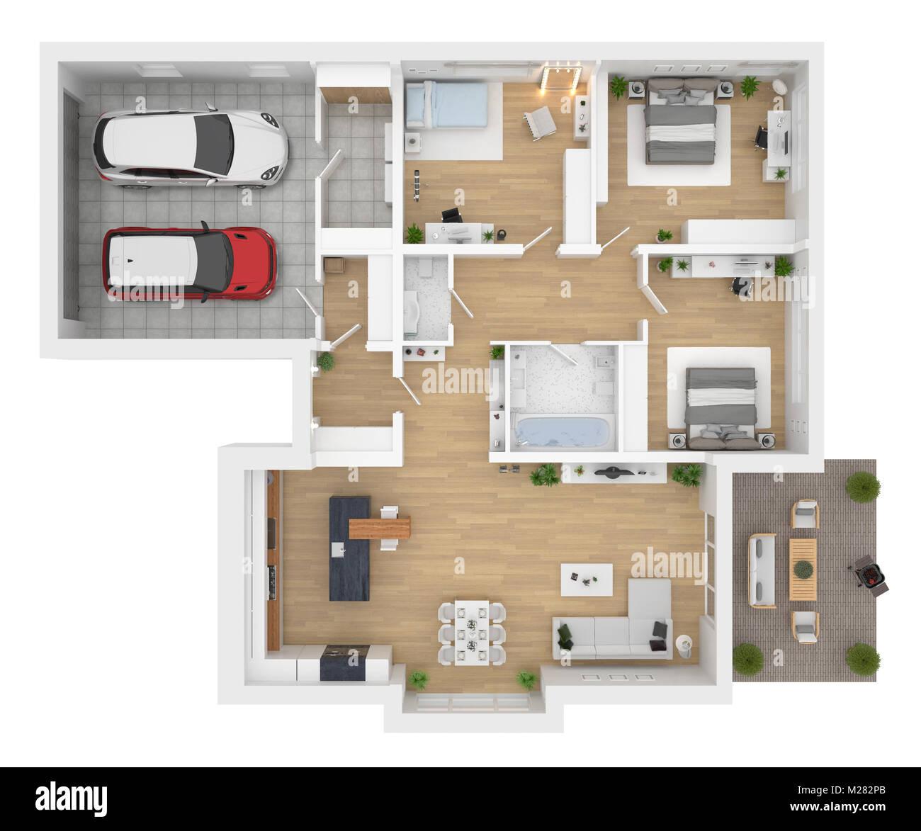 3d Home Design Project Viewer Software: Grundriss Ansicht Von Oben. Haus Innen Auf Weißem