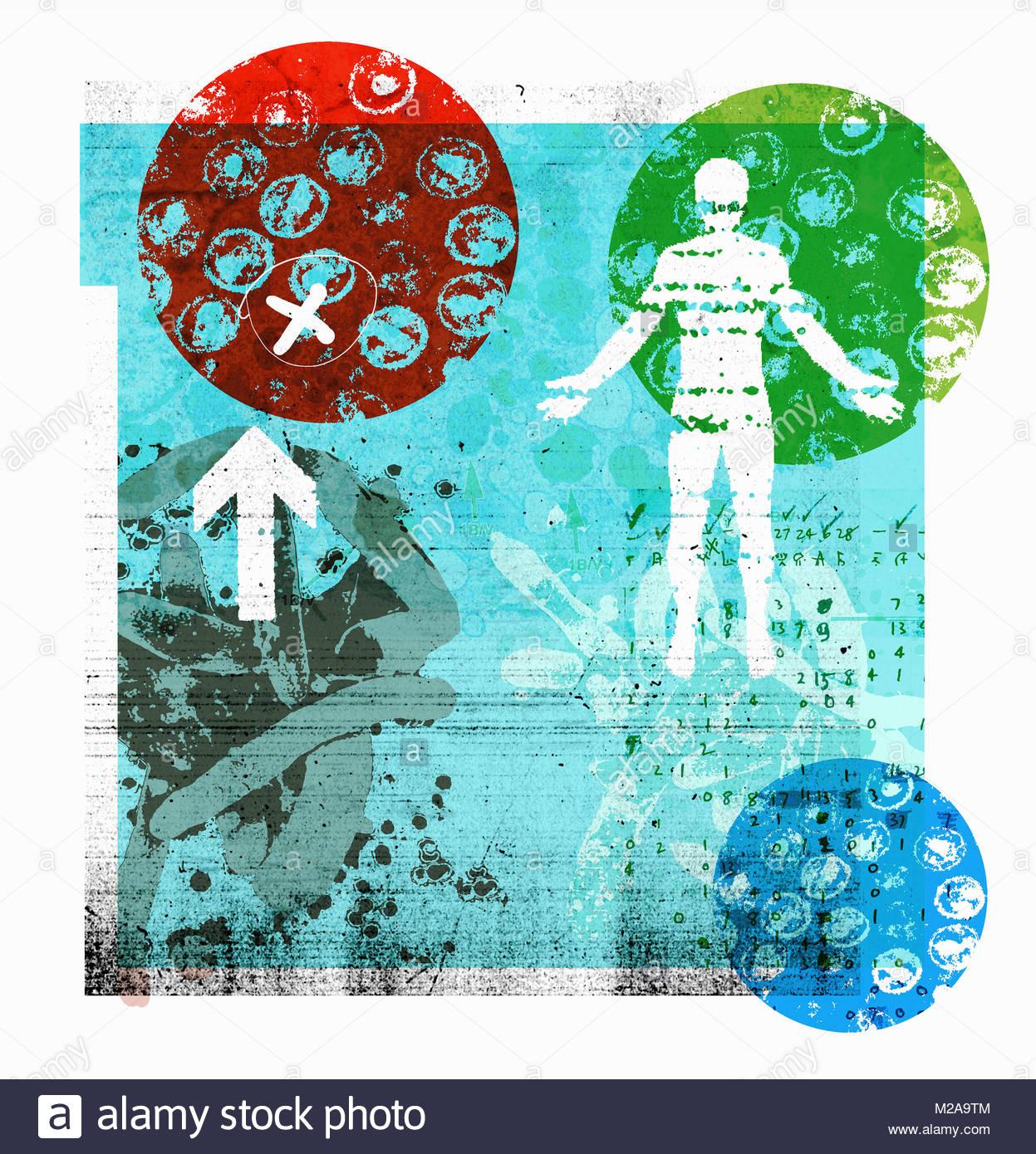 Bakterien in der Petrischale in der medizinischen Forschung collage Stockbild