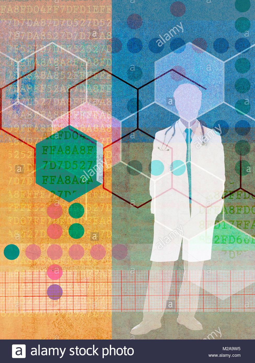 Arzt und angeschlossenen Mustern und Codenummern in der medizinischen Forschung collage Stockbild