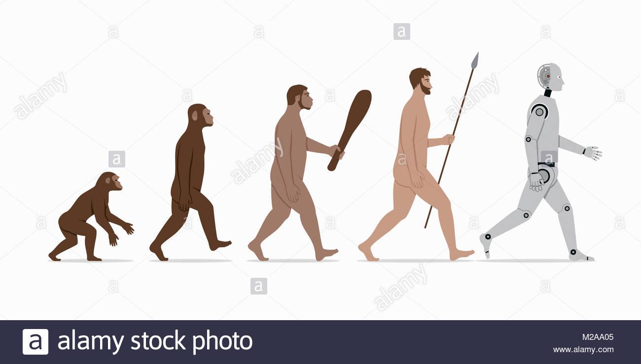 Phasen in der Evolution vom Affen an Roboter Stockfoto