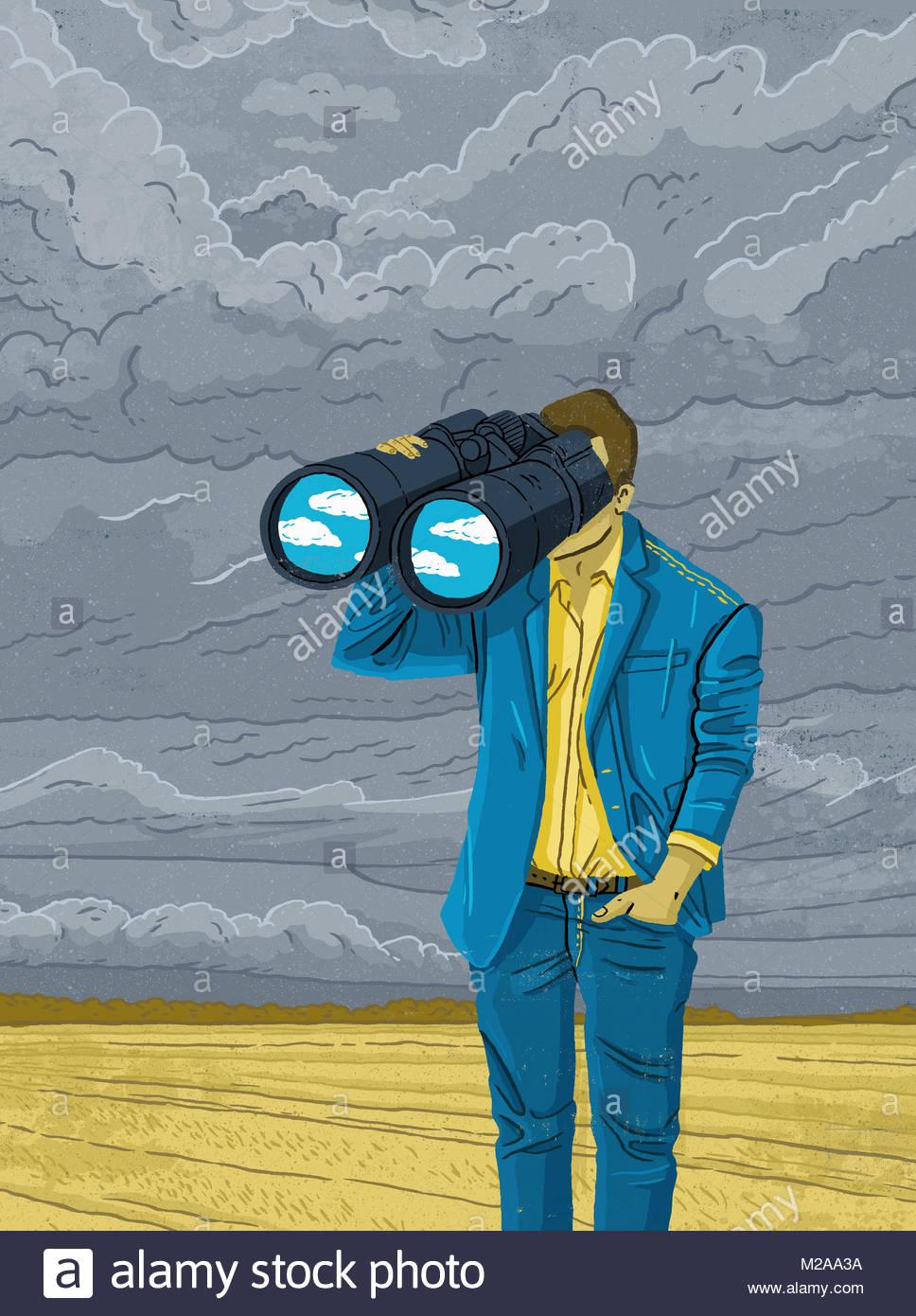 Mann durch ein Fernglas Prognose besseres Wetter Suche Stockbild