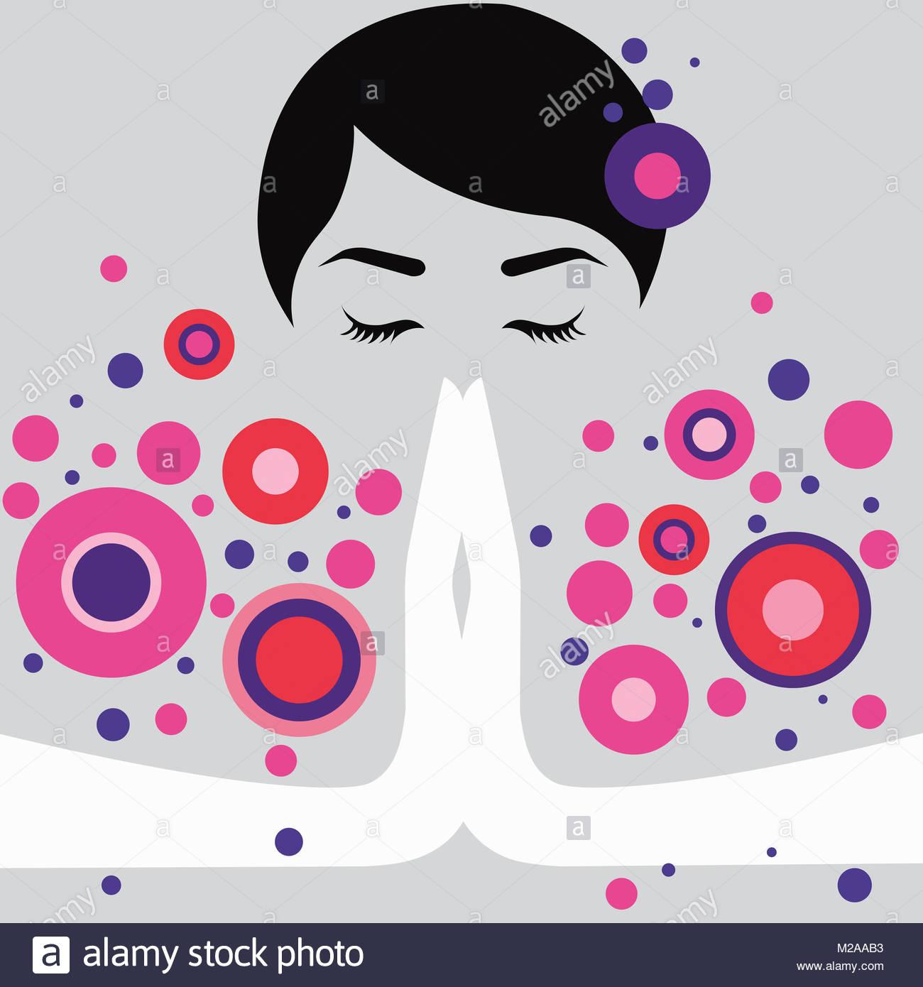 Frau meditieren im Gebet dar Stockbild