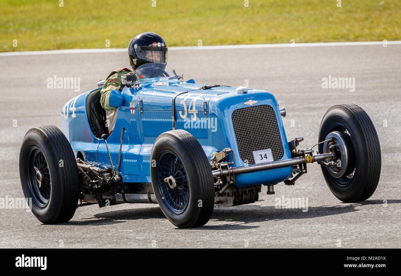 1934 Frazer Nash Single-Seater Sport Auto mit Fahrer Julian grimwade an der Formel Vintage meeting 2017, Snetterton, Stockbild