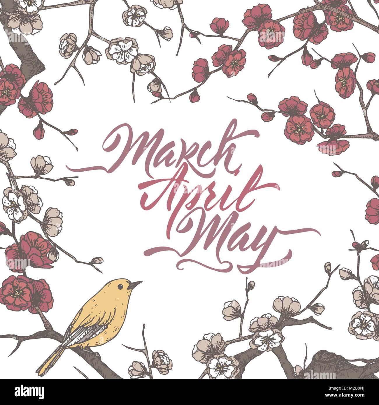Romantische vintage Farbe Vorlage mit Frühling Pinsel Kalligraphie ...