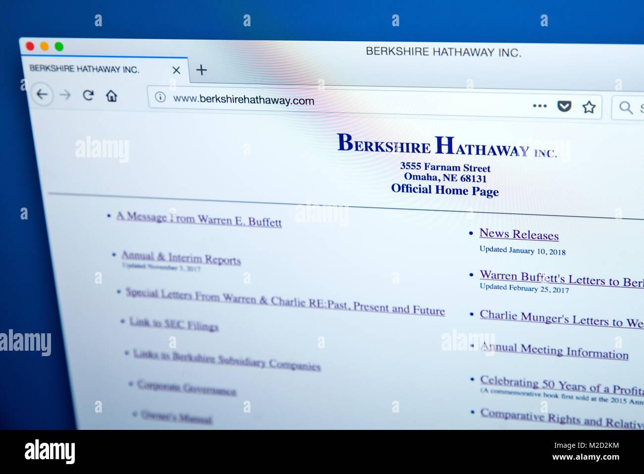 LONDON, UK, 25. Januar 2018: Die Homepage der offiziellen Website für Berkshire Hathaway - der amerikanische Stockbild