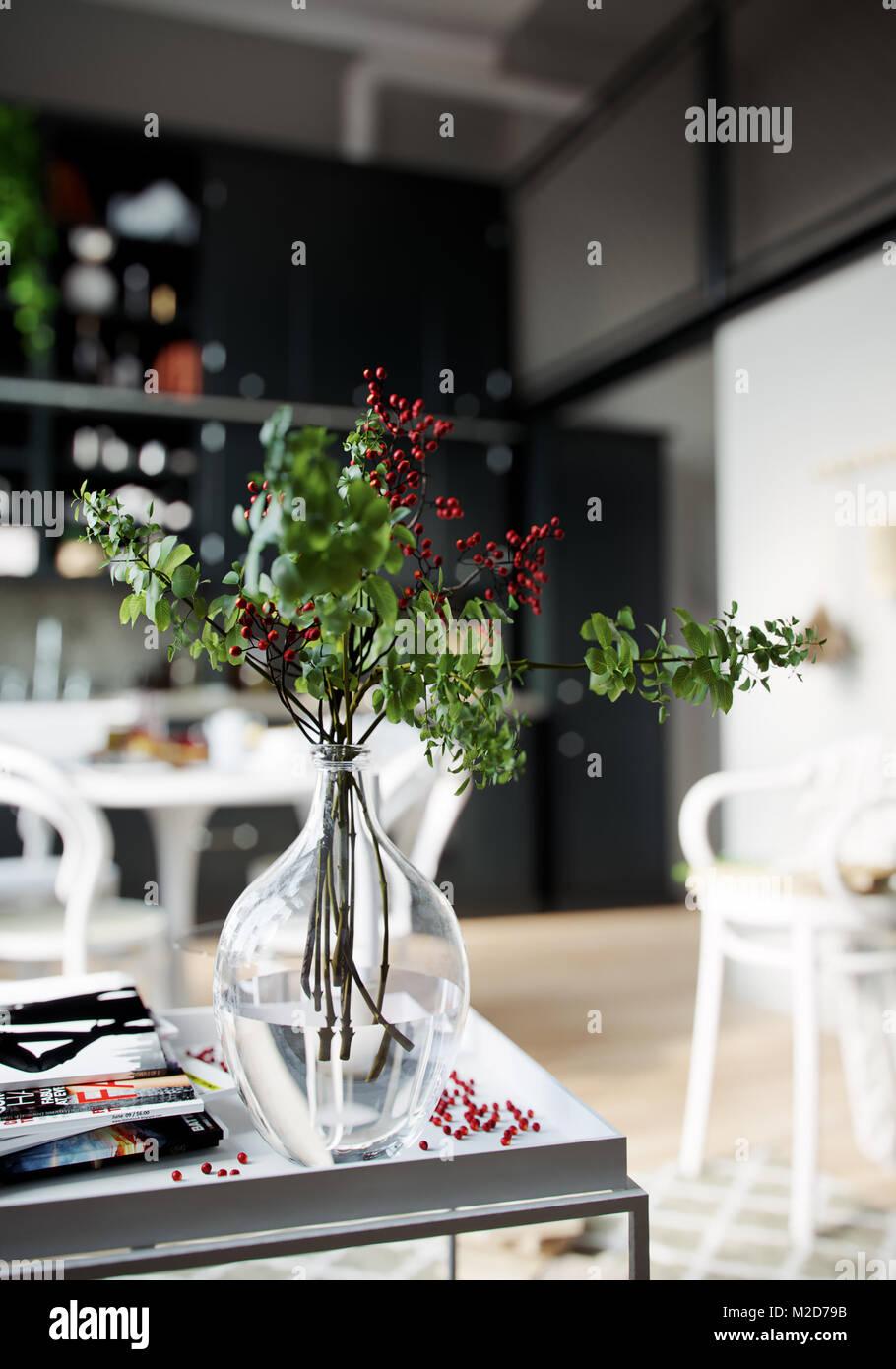3D Rendering Haus Im Innenbereich Küche Zimmer Keine Menschen Blumen In Der  Vase Auf Dem Tisch Close Up Verschwommenen Hintergrund Dekor