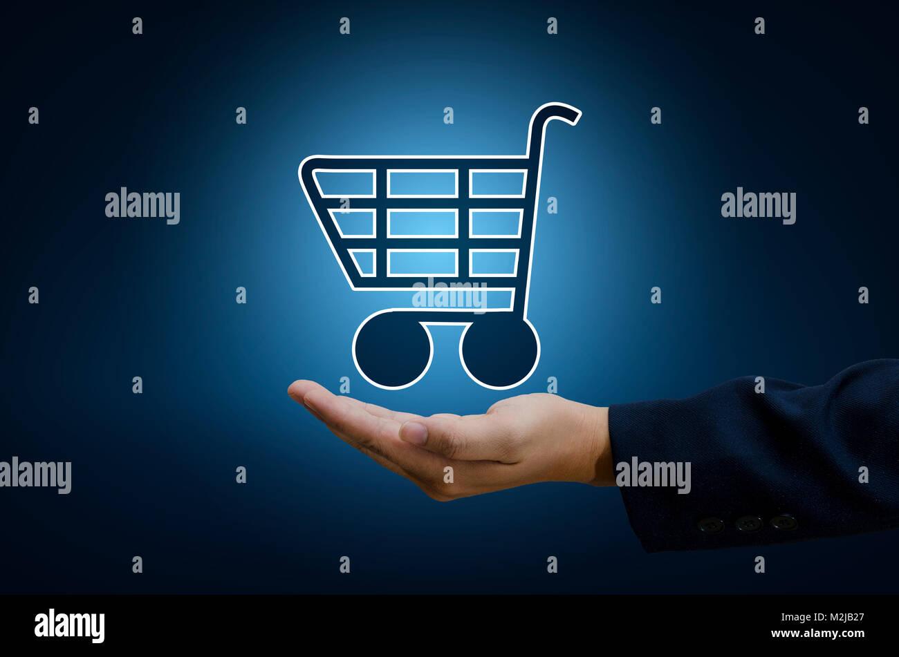 Hand Geschäftsmann Warenkorb Ihr Technologie Welt digitale Shopping ...