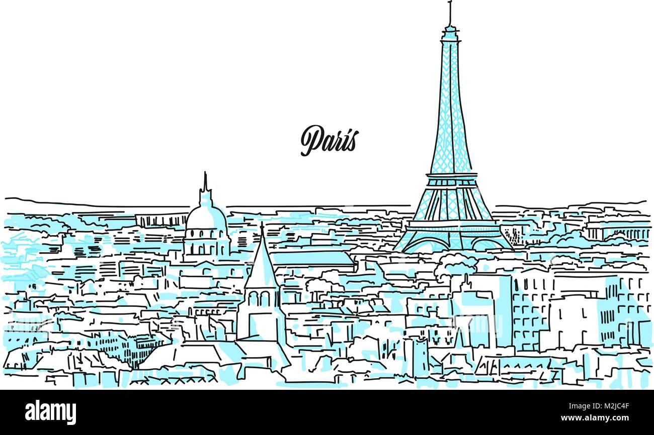 Paris Stadtbild Skizze Hand Gezeichnet Vector Illustration Business Travel Und Tourismus Konzept Mit Moderner Architektur