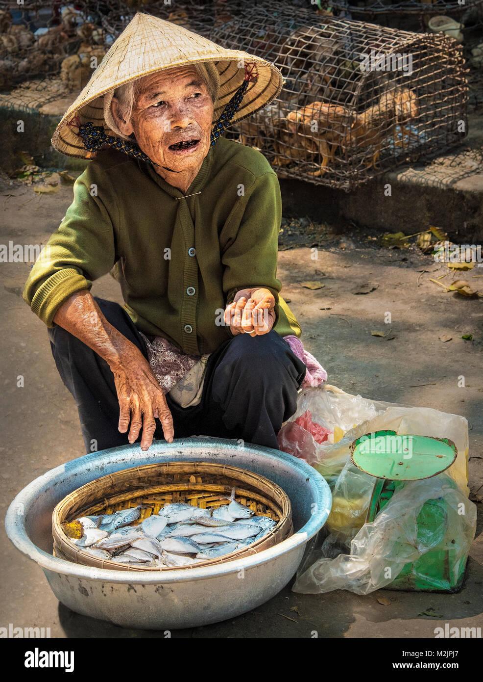 Traditionelle vietnamesische Dame verkaufen Fische aus einer kleinen Schüssel in den Markt von Hoi An Vietnam Stockbild