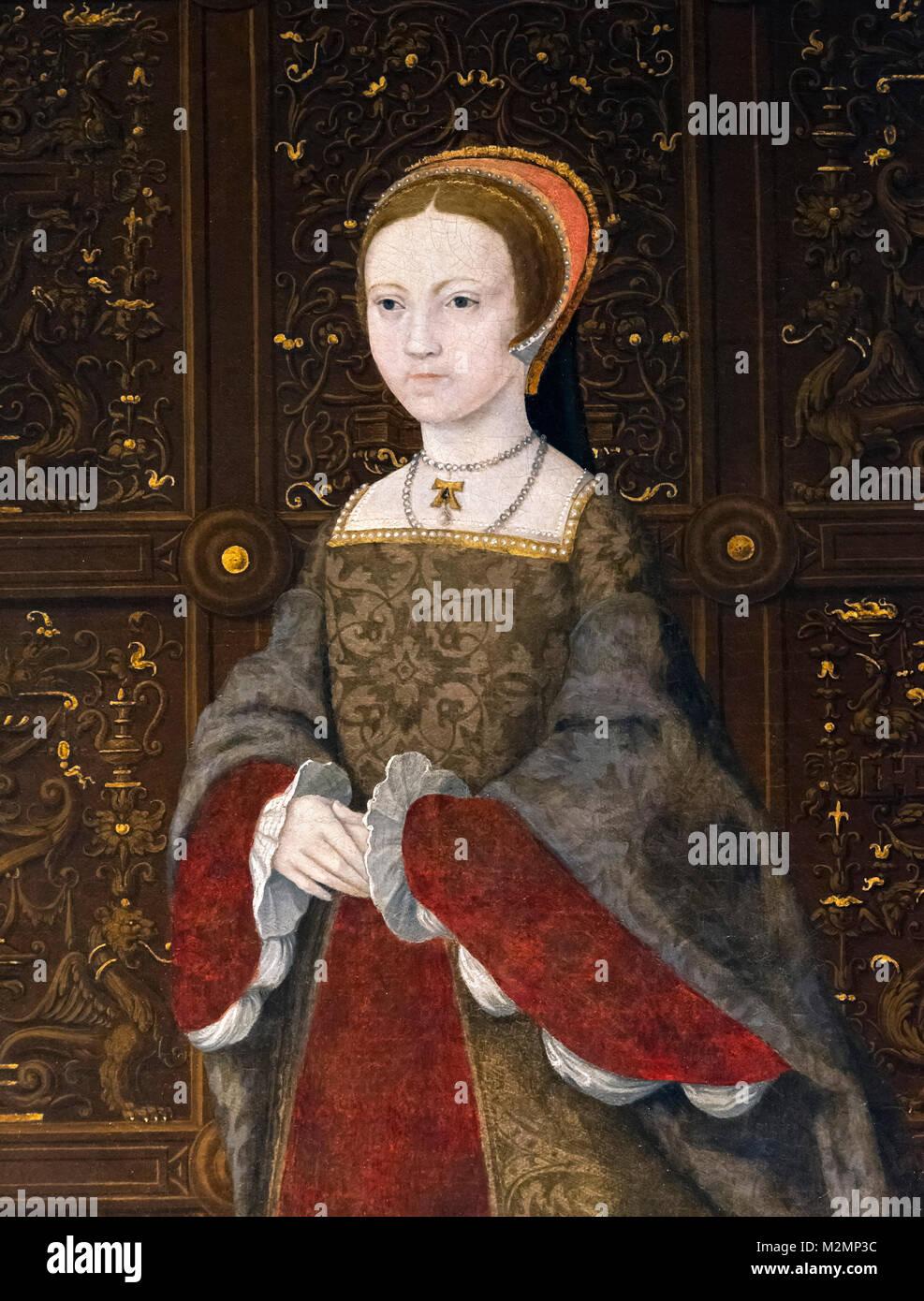 Elizabeth I. Portrait der Königin Elizabeth I (1533-1603) als Prinzessin Elisabeth im Alter von 12 Jahren. Stockbild