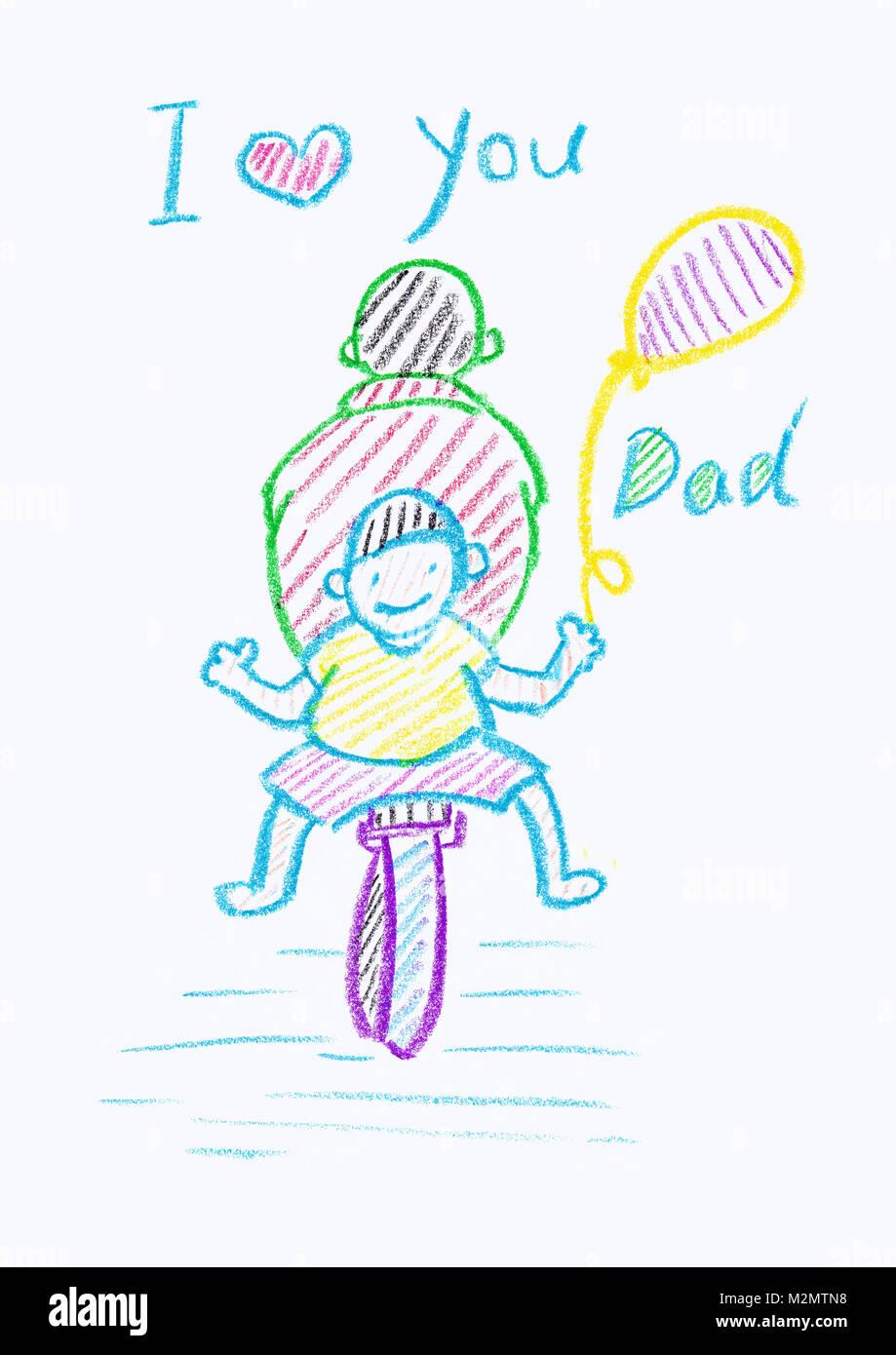 Kinder Kreide Zeichnung der Karte eines Vaters, die mit einem weißen Hintergrund und kopieren Raum Stockbild
