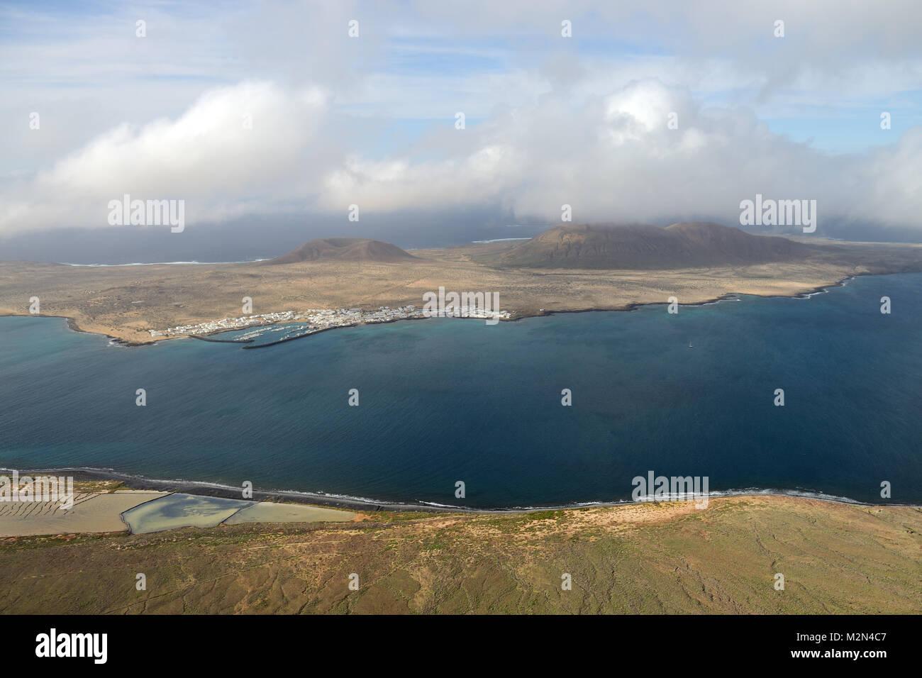 La Graciosa ist eine vulkanische Insel auf den Kanarischen Inseln von Spanien nördlich von Lanzarote. Es ist Stockbild