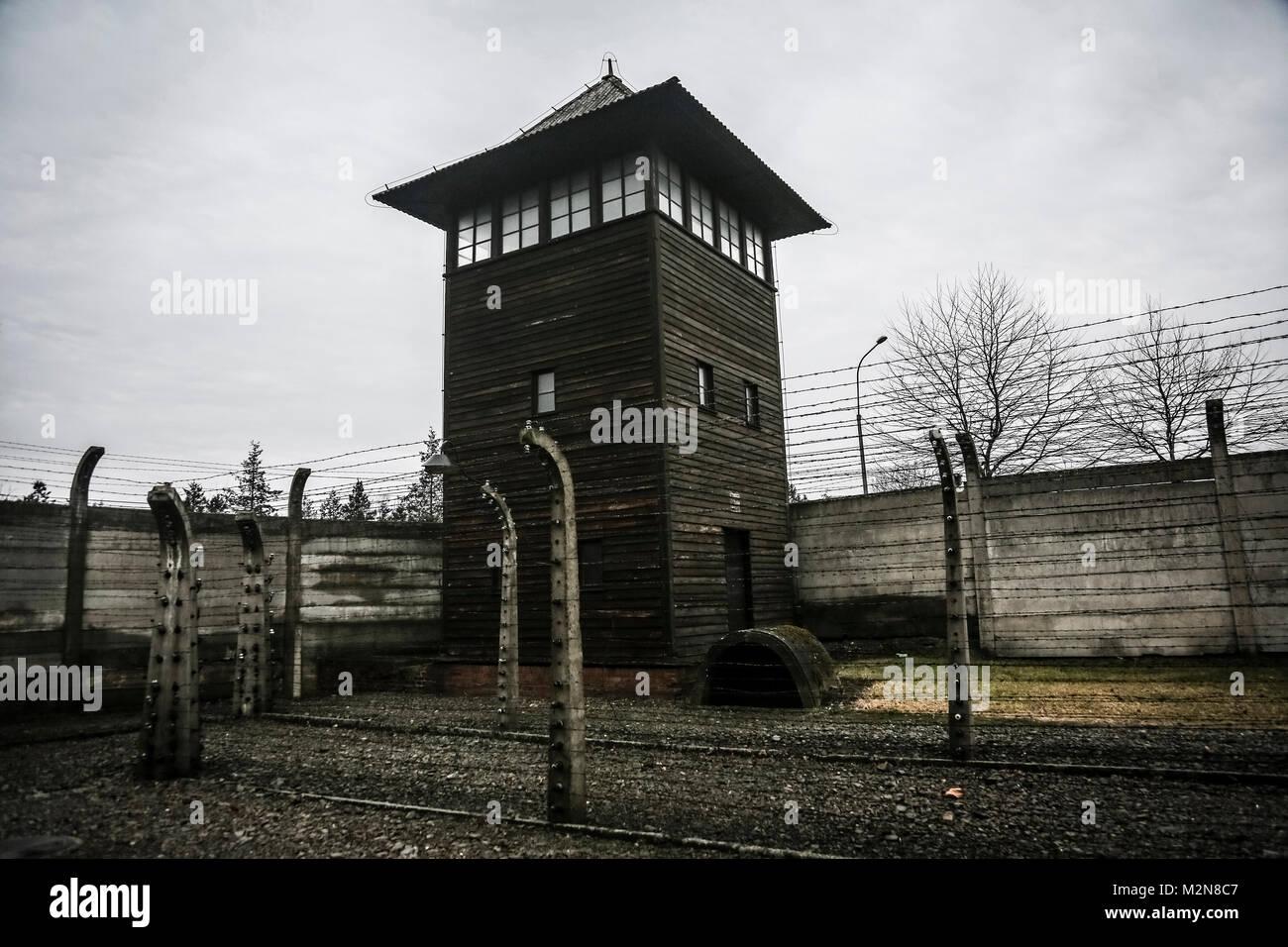 OSWIECIM, Polen - 26. Januar 2016: Die ehemaligen deutschen nationalsozialistischen Konzentrations- und Vernichtungslager Stockbild