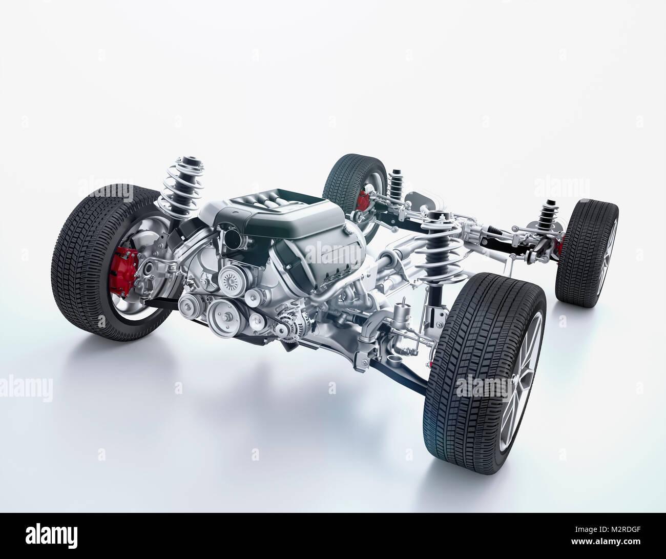 [M] CGI, 3-D, Computer Graphics eines Polygons Modell, das Chassis eines Rennwagens Stockbild