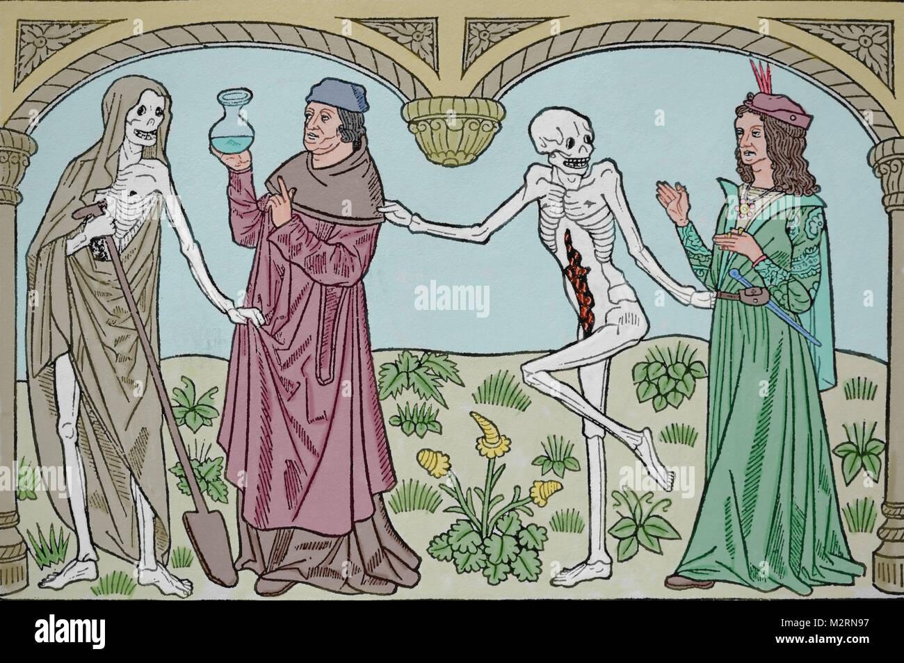 Tanz des Todes. Arzt und Liebhaber. Gedruckt von Guyot Marchant, Frankreich. 15. Jahrhundert. Stockbild