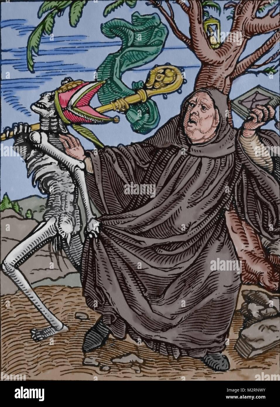 Tod und Abt. Icones Mortis (Bilder des Todes), von Hans Holbein dem Jüngeren. Gedruckt in Frankreich, 16. Stockbild