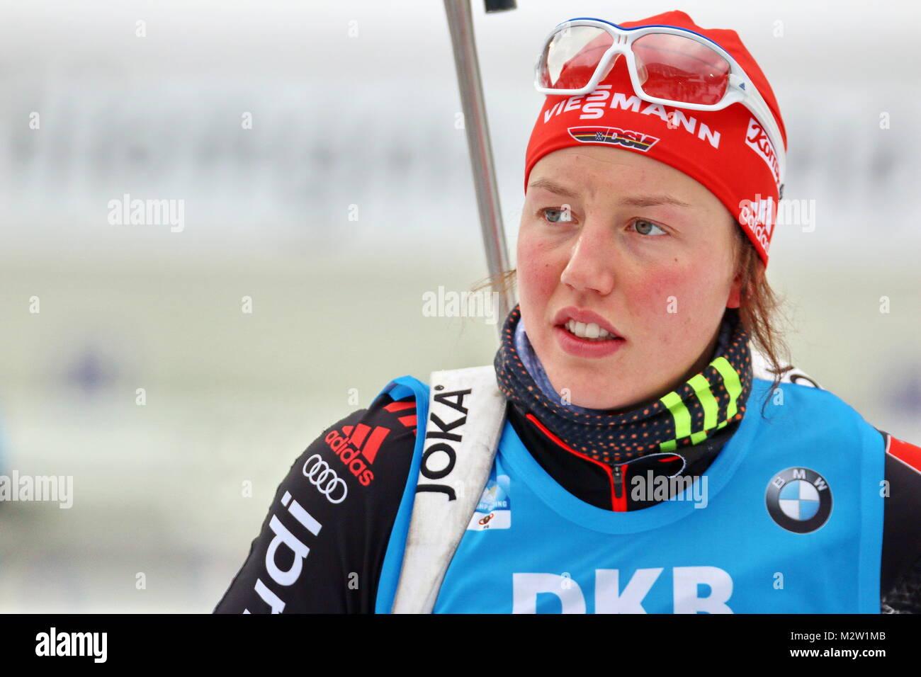 Laura Dahlmeier (SC Partenkirchen), Weltcup Ruhpolding 2016-Frauen Staffel Stockbild