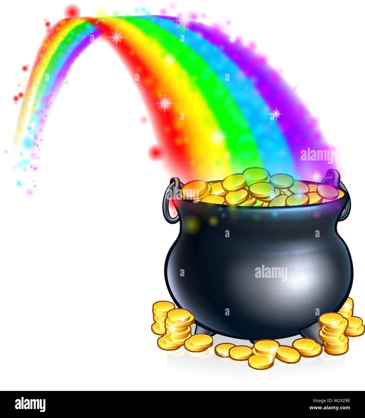 Topf Voll Gold Am Ende Des Regenbogens