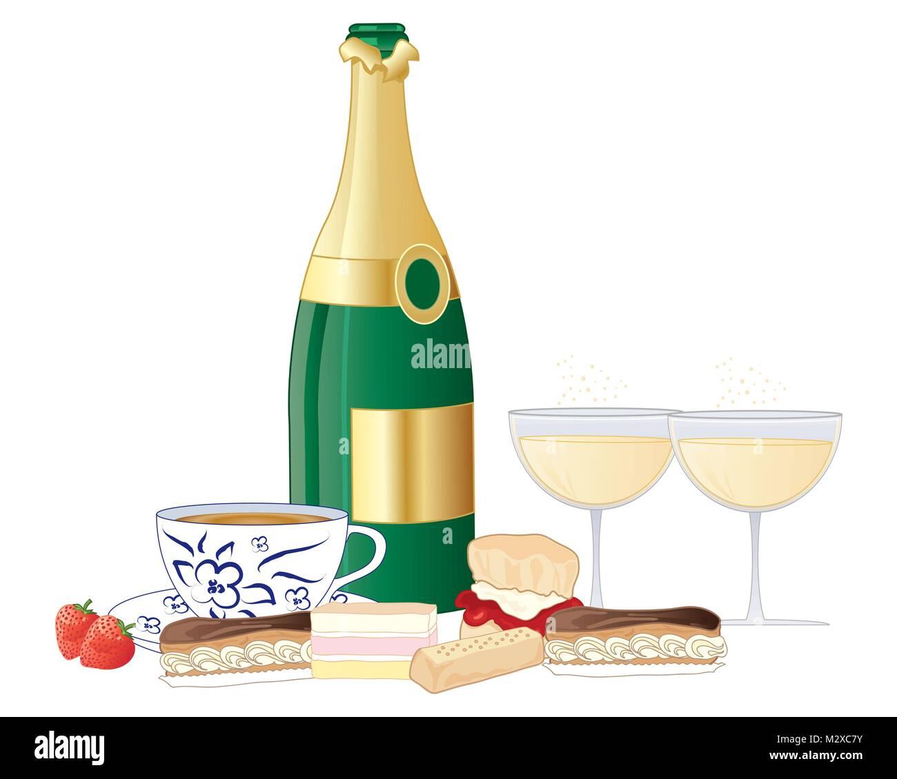 Ein Beispiel Fur Einen Nachmittagstee Mit Champagner Flasche Glaser