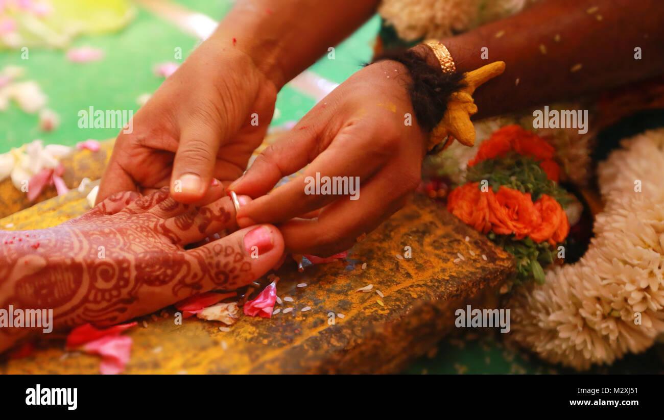 Closeup Schuss Ring South Indian Wedding Rituale Der Braut Und