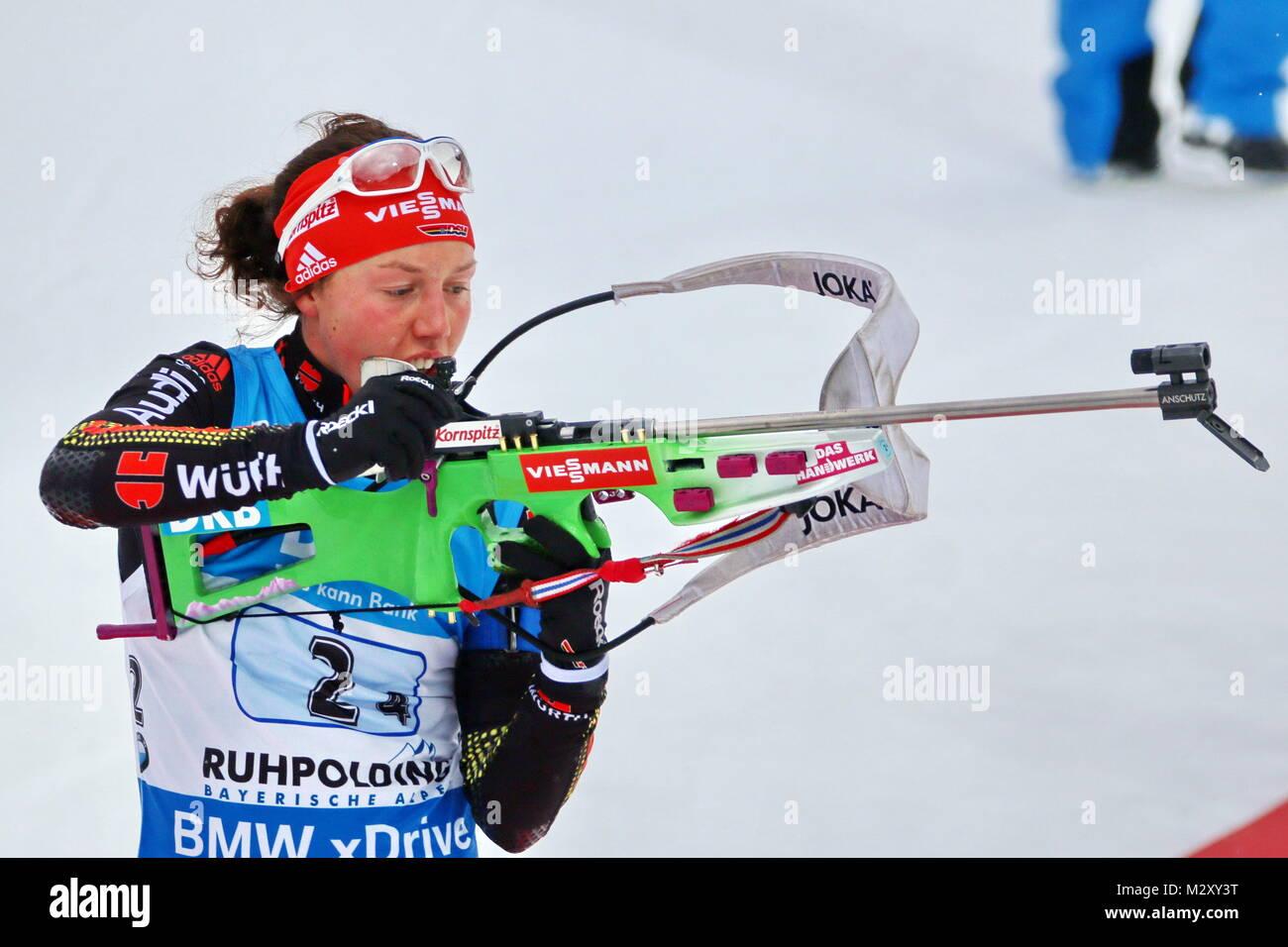 Laura Dahlmeier (SC Partenkirchen) beim Weltcup Ruhpolding 2016-Frauen Staffel Stockbild